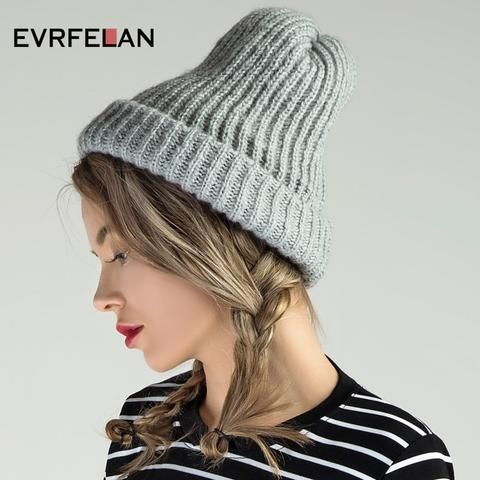 fe587251100 Evrfelan New Brand Winter Hat For Women Winter Hat Knitted Warm Beanies  Thick Women Hat Female Ladies Hat Girls Cap Wholesale