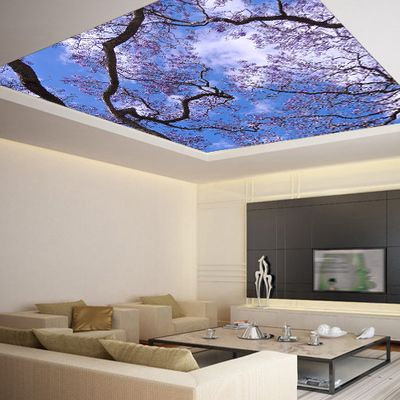 """Ceiling sticker mural - cherry blossom flowering trees sky galaxy night decole poster 139""""x139"""" - Thumbnail 2"""