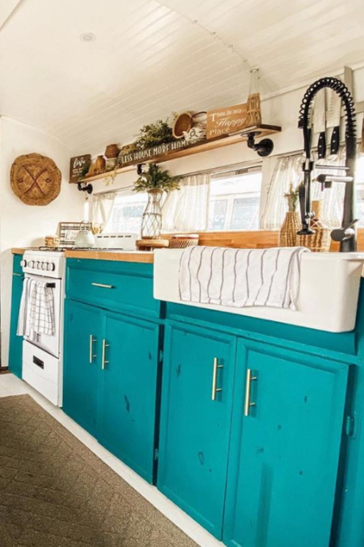 Best Skoolie Kitchen Design Ideas Layouts Skoolie Livin Teal Kitchen Cabinets Kitchen Design Building Kitchen Cabinets