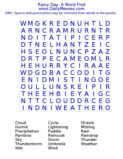 ec45b61a258d Daily Messes: Rainy Day: A Word Find   Activities   Rainy days ...