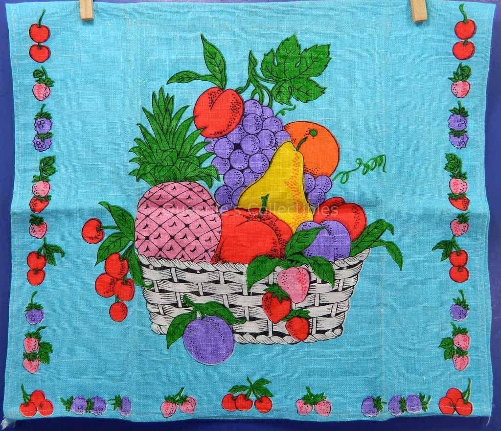 Linen Kitchen Towel Bright Fruit Basket on Blue Background Vintage ...