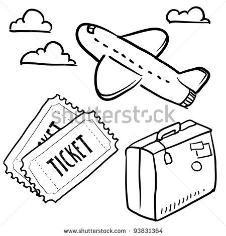 Doodle style air travel sketch in vector format. Set
