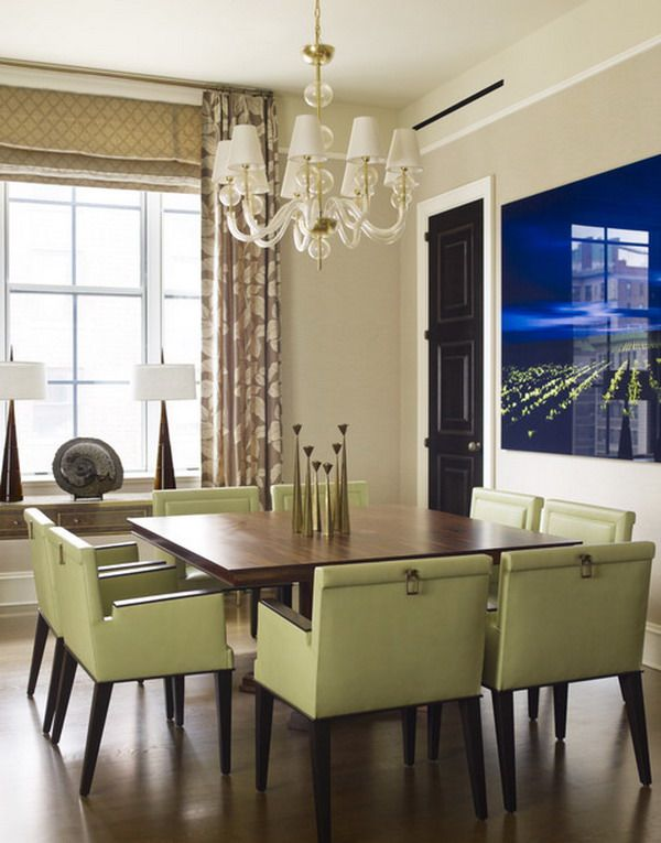 Modern Dining Room With Green Leather Chairs Dining Room Furniture Delectable Green Leather Dining Room Chairs Inspiration