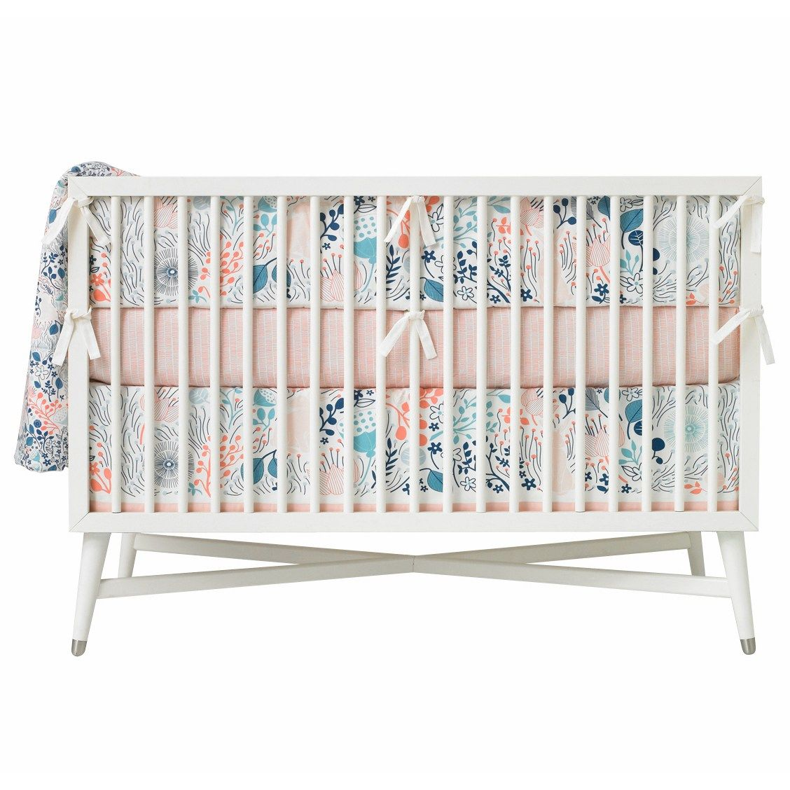 Dwellstudio Crib Bumper Meadow Powder Blue Laylagrayce Crib