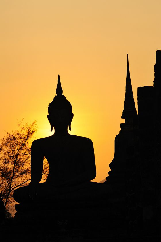 ART PRINT POSTER PAINTING DRAWING BUDDHA SILHOUETTE SUNSET SKY LFMP0399