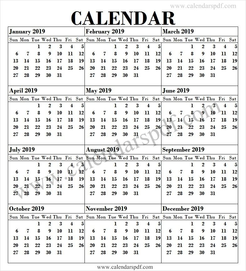 2019 Calendar English Calendar 2019 Yearly Calendar Template