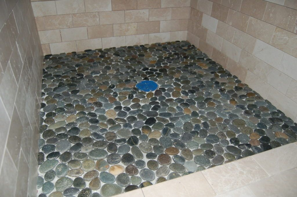 Flat Pebble Shower Floor Tile Natural Stone Home