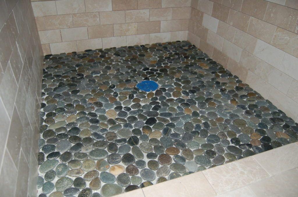 Flat Pebble Shower Floor Tile Natural Stone Tile Shower Home