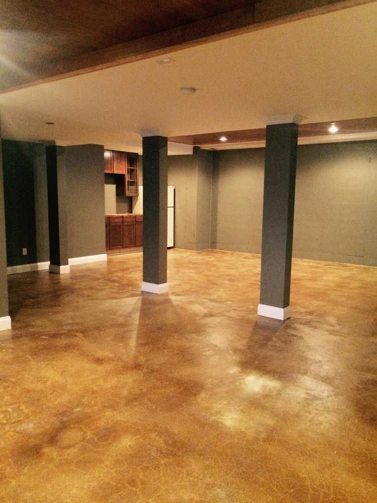 Acid Stain Basement Remodel Basement