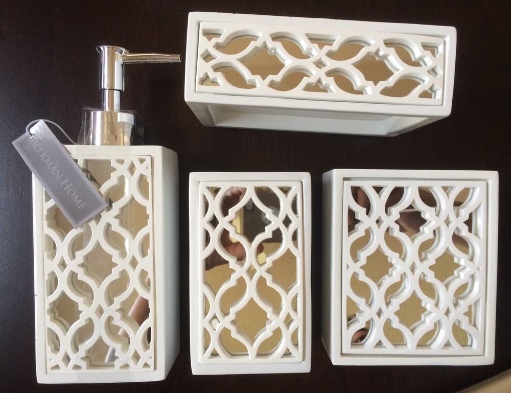 NEW White Mirror Beekman Home Style 4pcs Bath Accessory Bathroom Decor