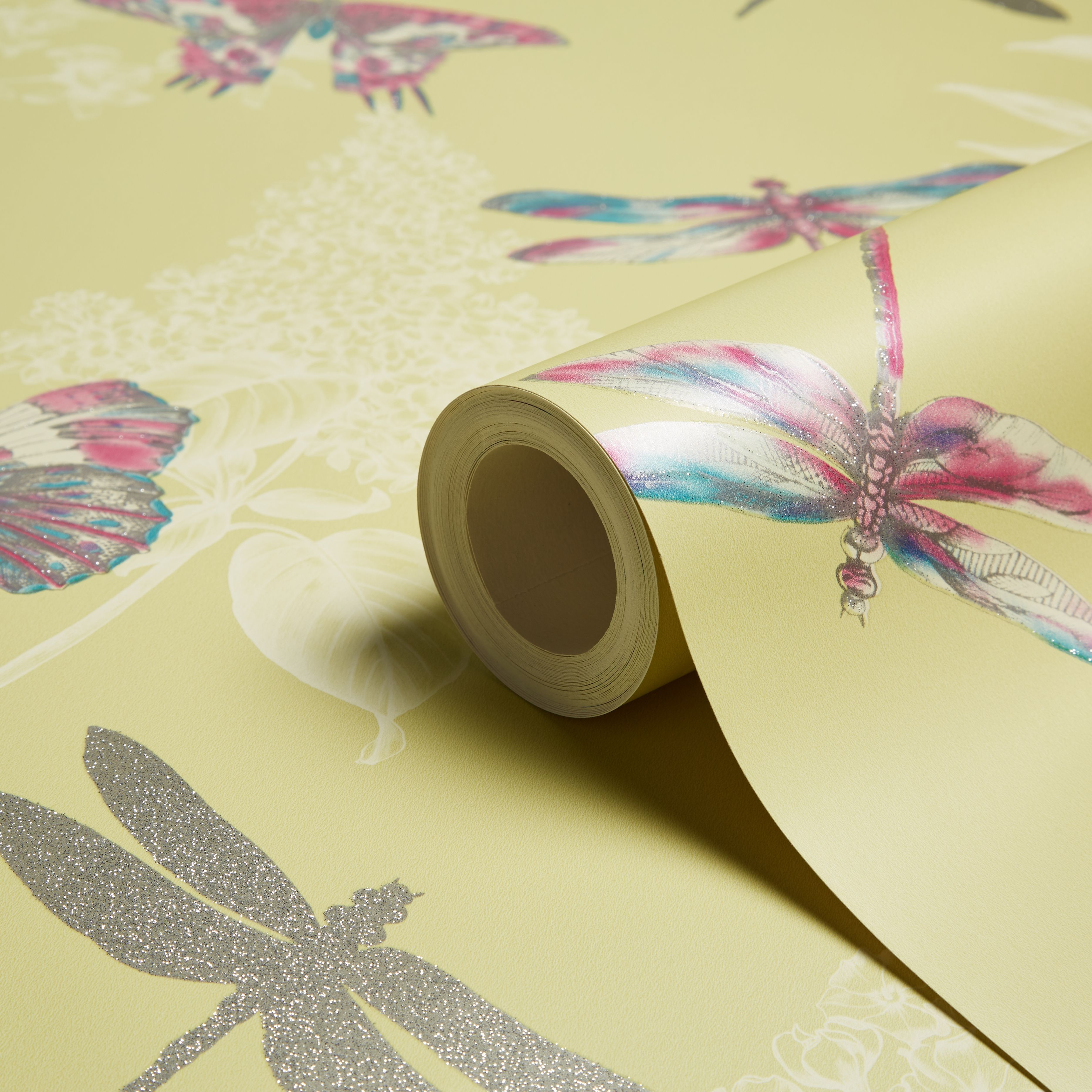 Diy supplies accessories diy at b q - Arthouse Enchanted Wings Citrus Insects Glitter Effect Wallpaper