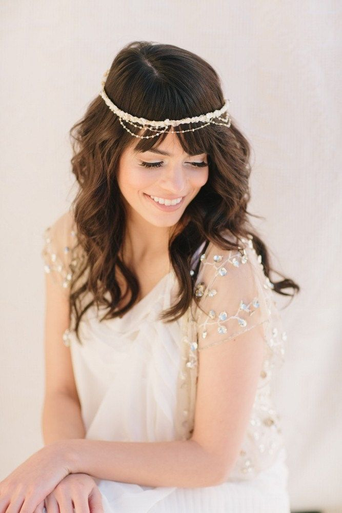 Joy Bridal Headband, Russian Veiling, Austrian Crystals, Pearls, Agate, Wedding Headpiece, Bridal Hair Piece, Boho Halo, Ships in 1 Month. $168.00, via Etsy.