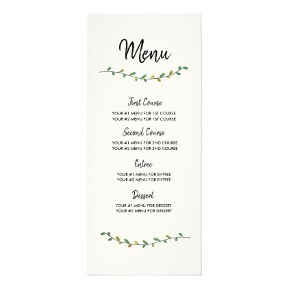 Simple Greenery Wedding Menu Card  Wedding Menu Cards Menu Cards