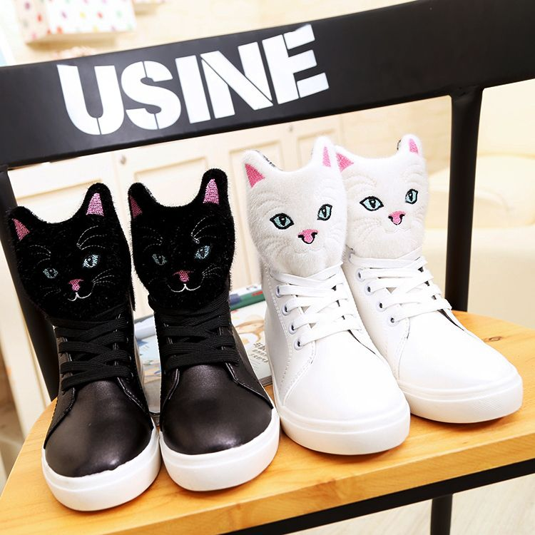 Style:cute kawaii,lace shoes,cat shoes