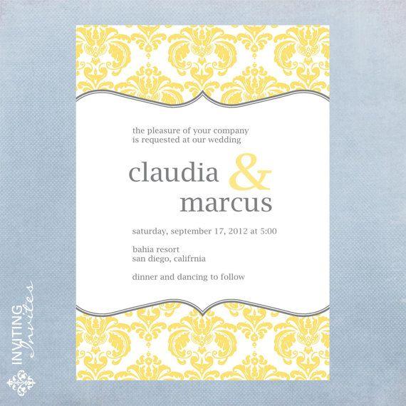 Digital Wedding Invitation Ideas: Wedding Invitation Damask - Printable Digital