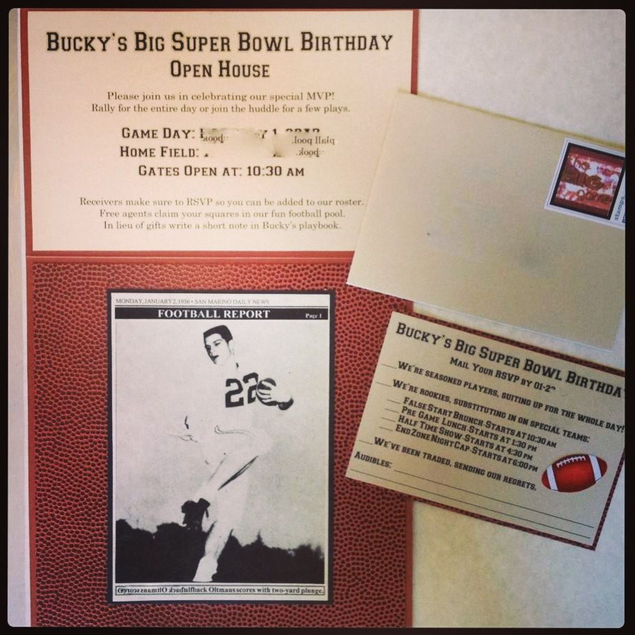 Super Bowl Football Invitations For A Birthday Open House. Designed And Crafted By MOMENTS BY