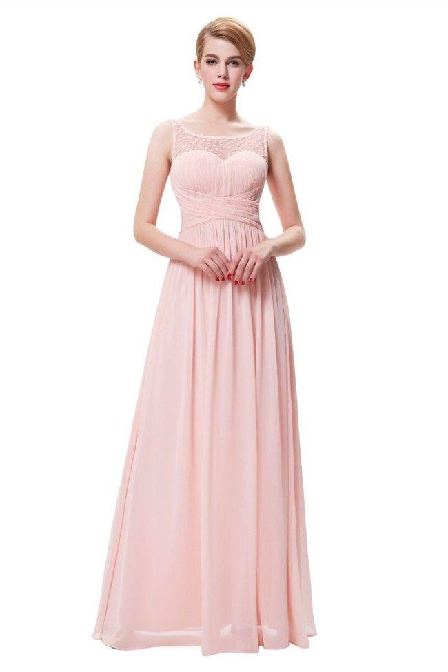 Charming Bateau Neckline V Back Long Blush Pink Chiffon Beaded Prom
