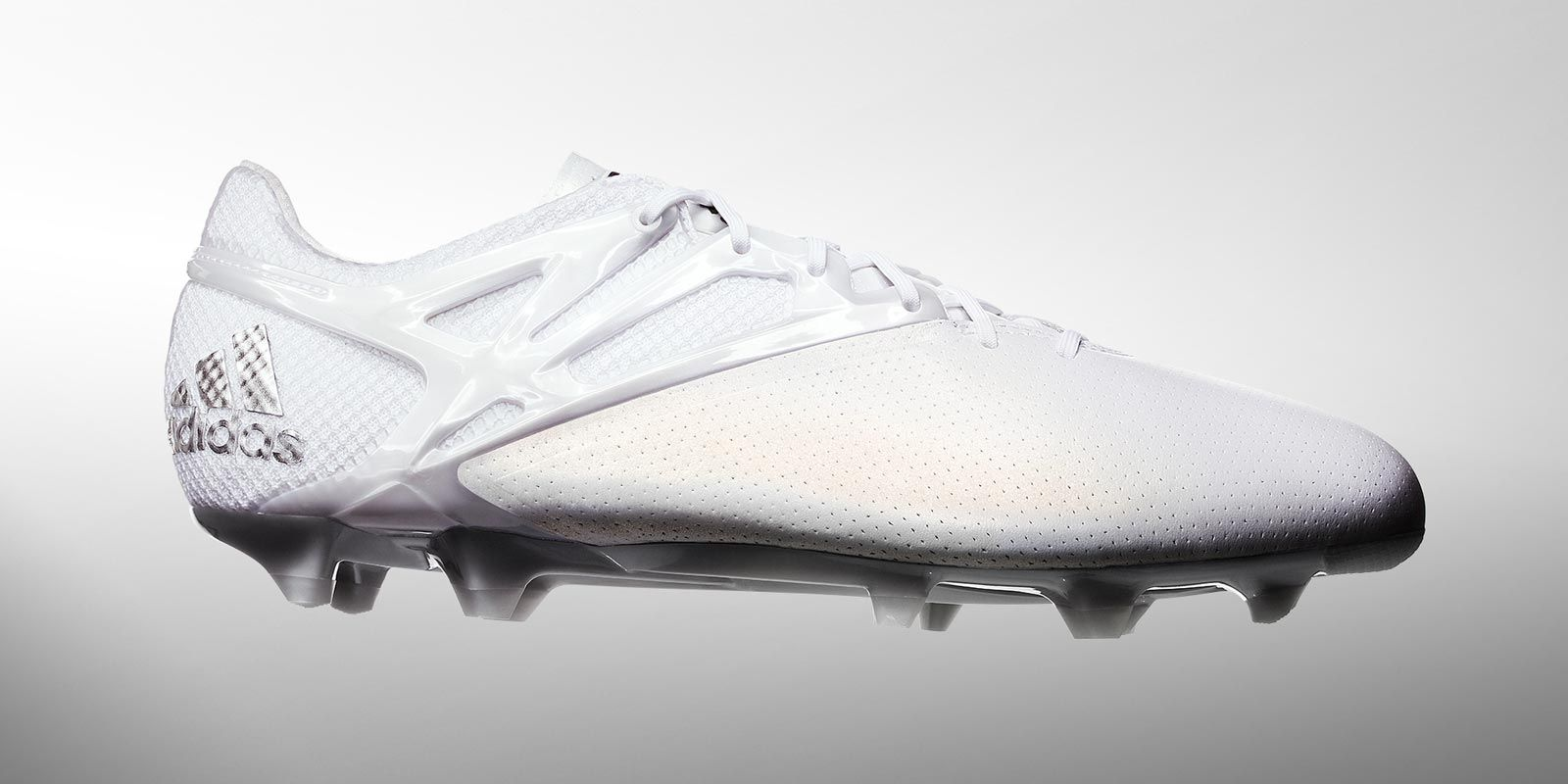 buy online 6ea65 1ce77 The new Adidas Messi 2015 Ballon d Or football boots celebrate Lionel  Messi s fifth win of the award in style, combining a white base with silver  metallic ...