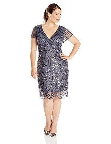 Marina Women\'s Plus-Size Short Sleeve V Neck Stripe Sequin Dress ...