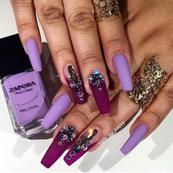 purple nail art for wedding 2019 | Purple nails, Purple ...