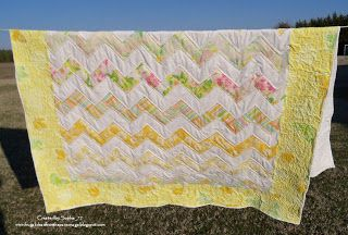 Sophia's Sundries (formerly Frugal Ideas from the Parsonage): Homemade Gift: Yellow Zig Zag Vintage Sheets Quilt