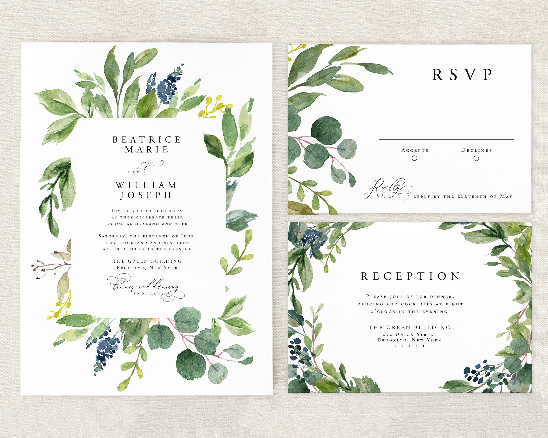 Eucalyptus Wedding Invitation Printable Greenery Wedding Etsy In 2020 Eucalyptus Wedding Invitation Green Wedding Invitations Greenery Wedding Invitations
