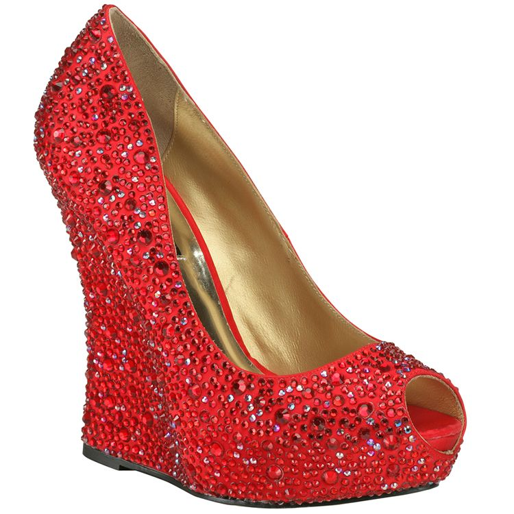 Benjamin Adams Cali Red Wedge Evening Shoes - Wedding Shoes ...