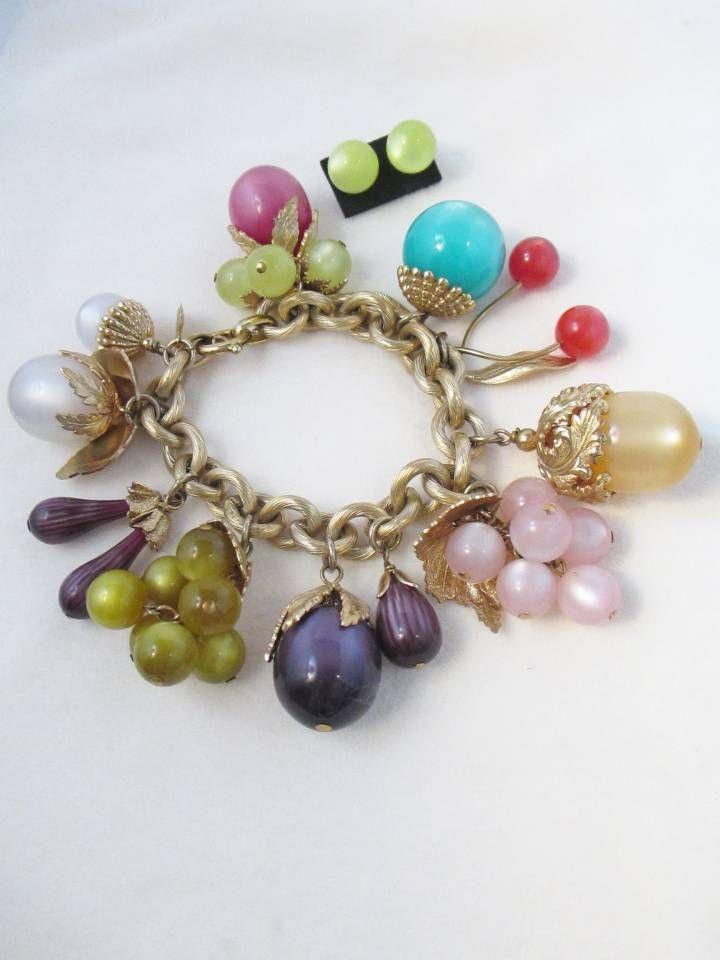 "Famous Vintage Jewelry Designer - Napier ""moonstone pastels"" bracelet known as the ""Tropicana"" because of its fruit colors. 7 3/4"" long, mint, Book piece."