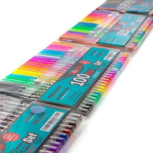 100 Premium Coloring & Drawing Gel Pen Set - Great gift f... https ...