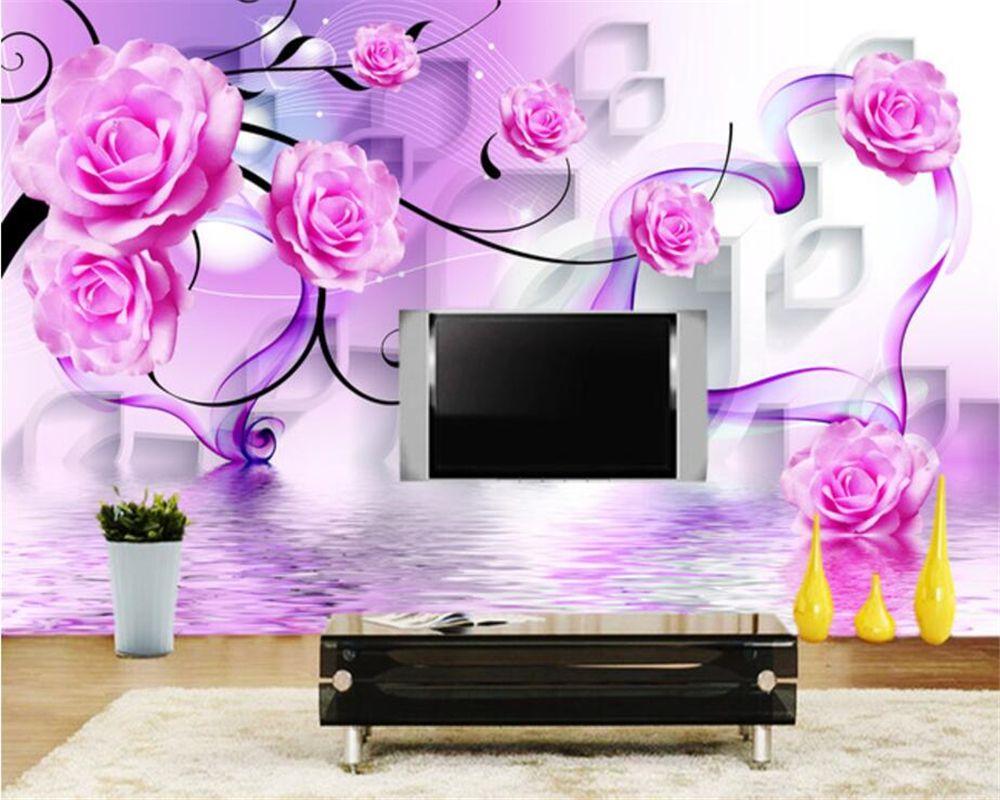 Beibehang Custom Wallpaper Rose Reflex 3d Diamond Tv Wall