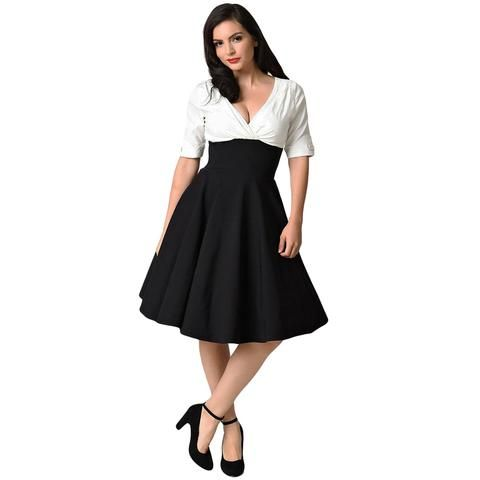 701aaabef56 Kenancy Plus Size Women Vintage Dress Elegant Black and White Patchwork  Office A line Dress V Neck Half Sleeves Party Vestidos