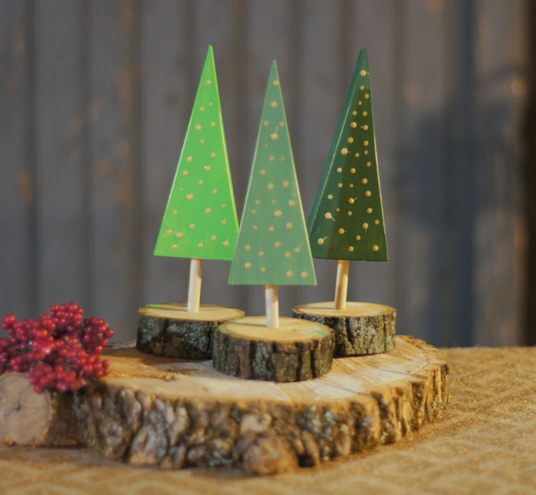Set Of 3 Wood Christmas Tree's.. Rustic Primitive