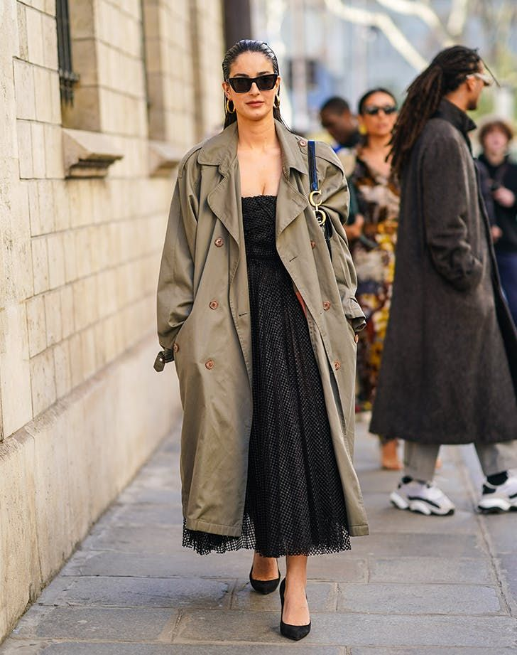 How To Wear LBD — Trench Coat #purewow #fashion #style #styleinspo #ootd #lbd #litttleblackdress #streetstyle