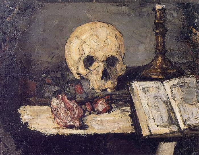 Still Life with Skull and Candlestick, Paul Cezanne.