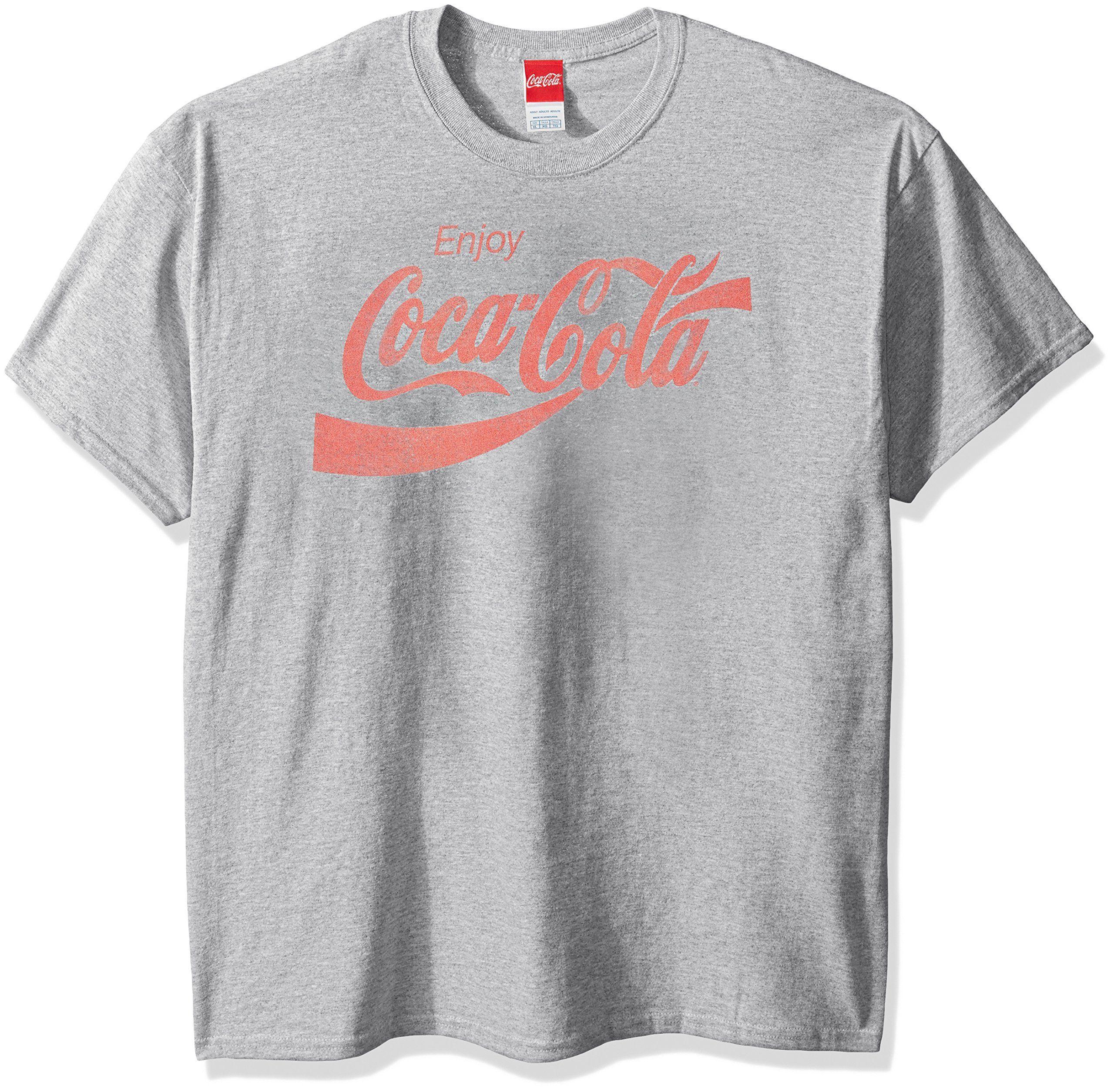 New Coca-Cola Enjoy Coke Logo Mens Heather Red Classic Vintage T-Shirt