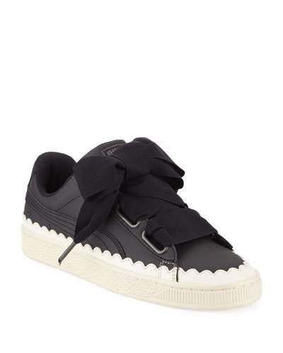 online store 4275e e5f1f Basket Heart Scallop Ribbon-Lace Leather Low-Top Sneakers in ...
