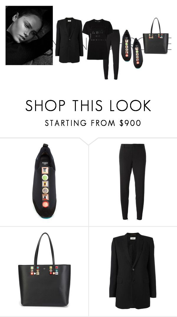 """black on black"" by jofrebcn ❤ liked on Polyvore featuring Fendi, Yves Saint Laurent and Opening Ceremony"