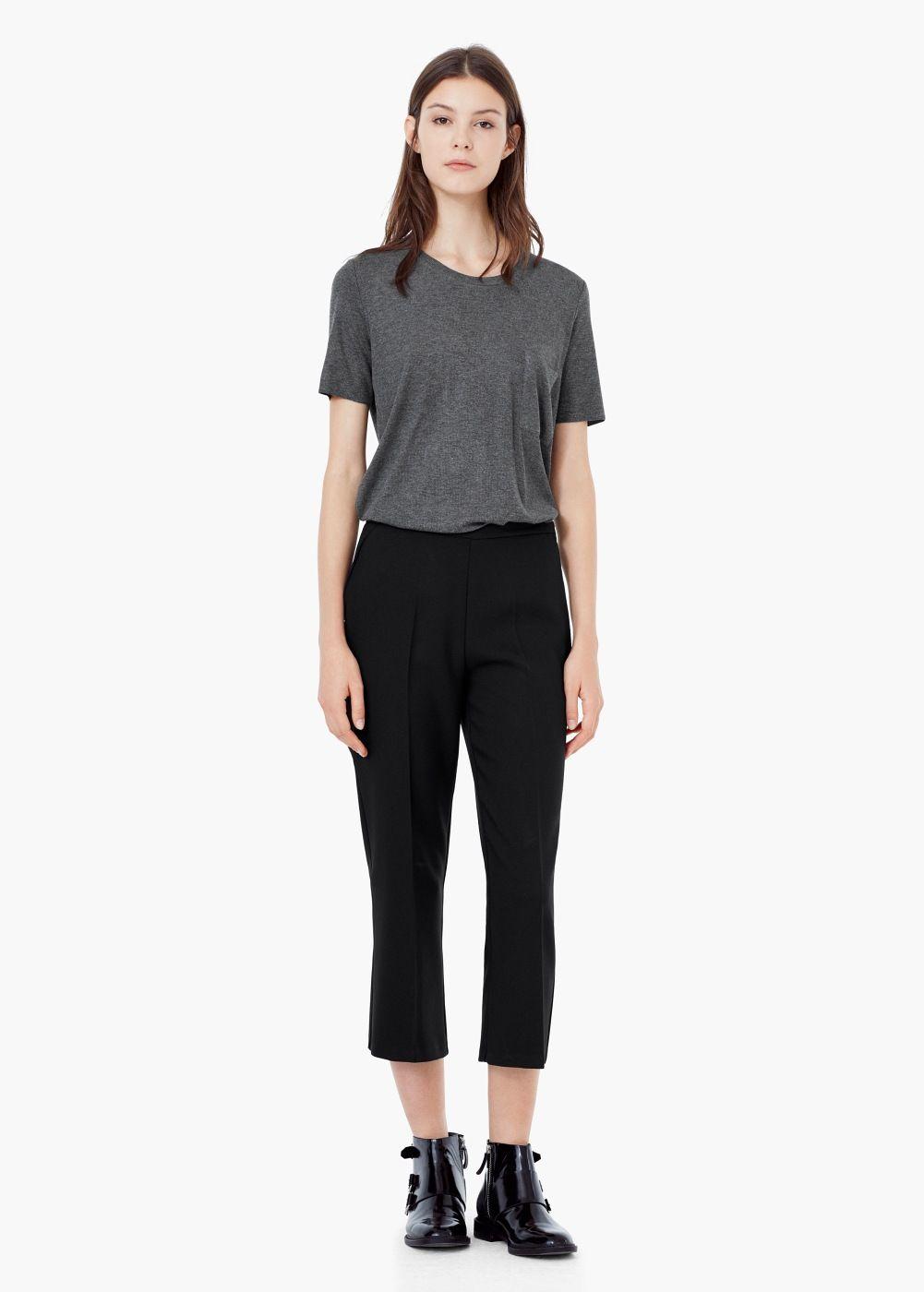 Pantalon capri texture   MANGO