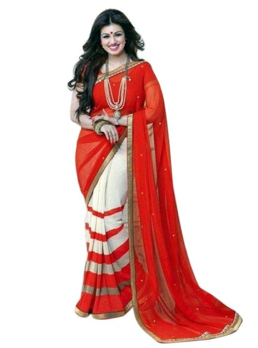 aa4da0f425c7c Exclusive Burgundy   Pink Georgette Casual Party Saree NV014 ...