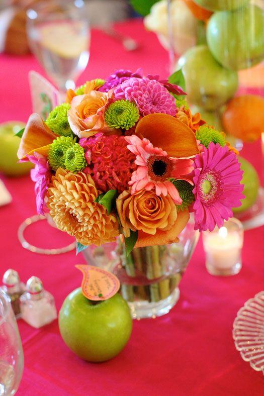 Pink  Orange Wedding flowers Pinterest Flowers, Centerpieces