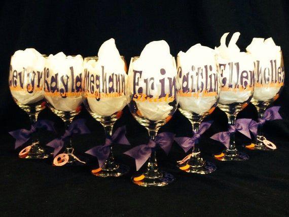 7 Bridal Party Wine Glasses/tumbler