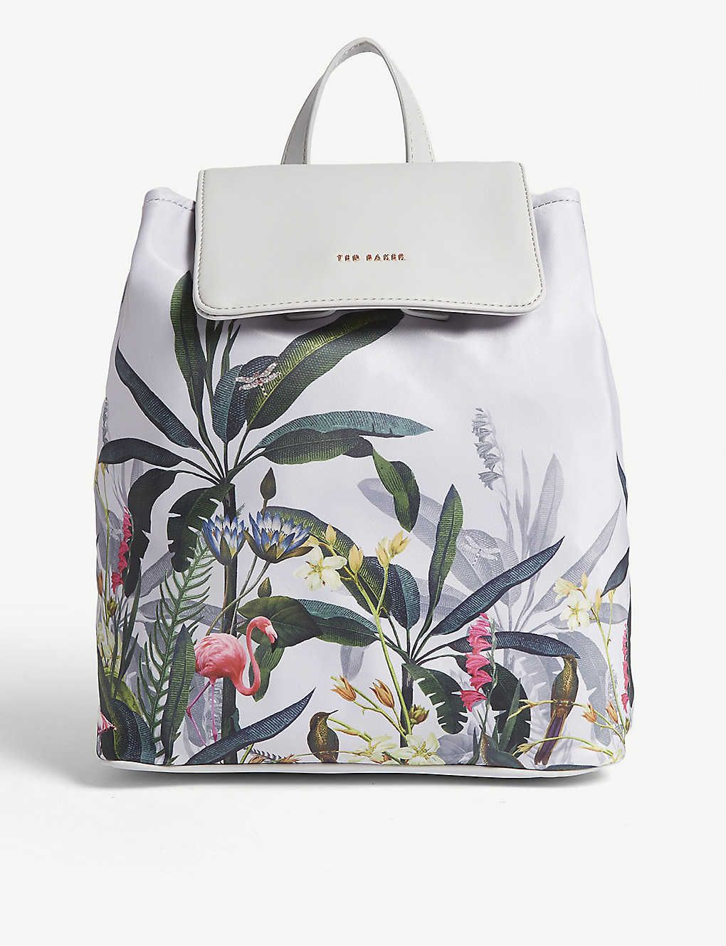Ted Baker Drawstring Backpack Bag Grey Floral Small New