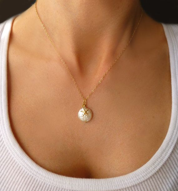 Gold Freshwater Pearl & Starfish Necklace - Dainty Starfish Charm Necklace - 14k Beach Necklace - Tiny Starfish Jewelry - Bridesmaid Jewelry on Etsy, $34.00