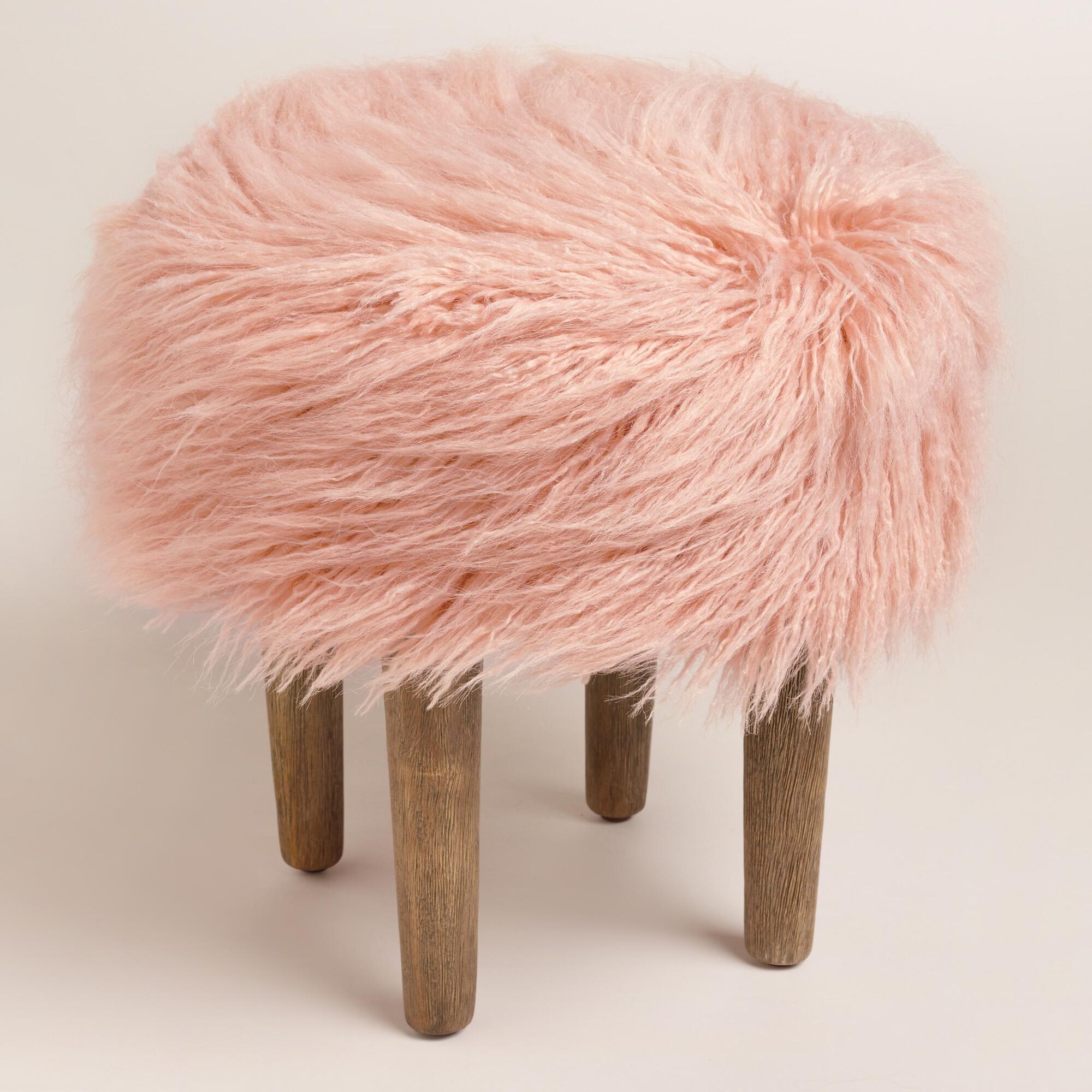 Blush Flokati Stool Faux Fur Rug Pink Office Chair Stool