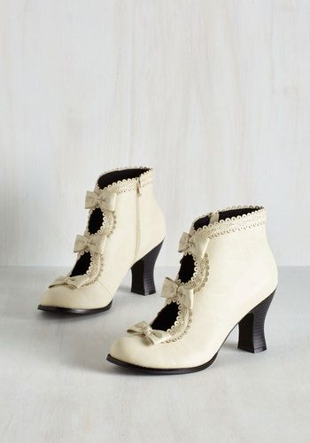 Victorian inspired shoes  - Powerful Protagonist Bootie in Ivory $59.99 AT vintagedancer.com