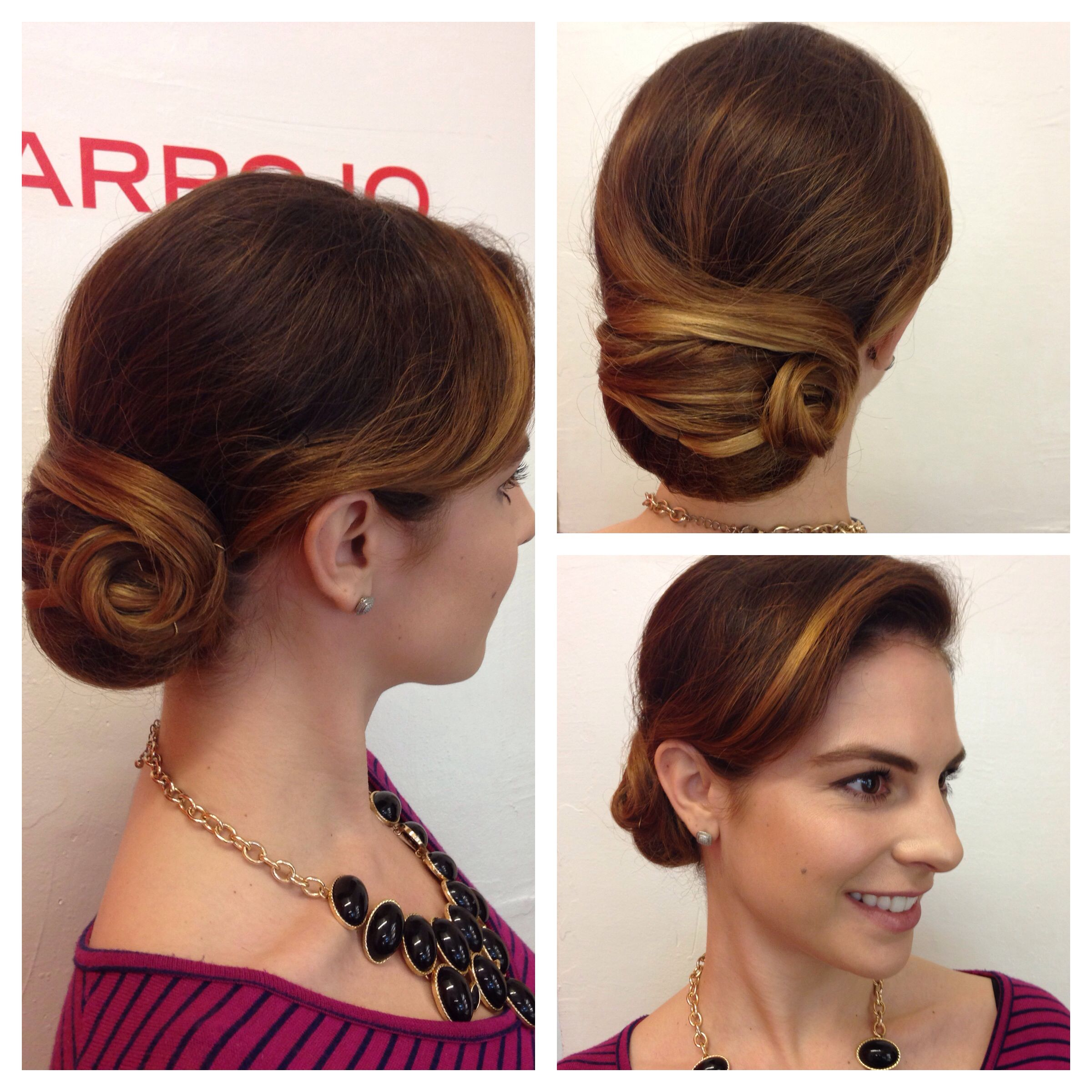 Sleek And Smooth Updo Classic Bun Low Bun Finger Waves Chignon