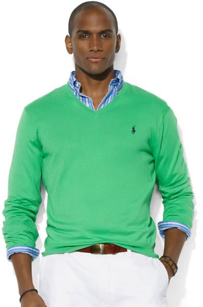cceec7d3e Polo Ralph Lauren Pima Cotton V Neck Sweater in Green for Men