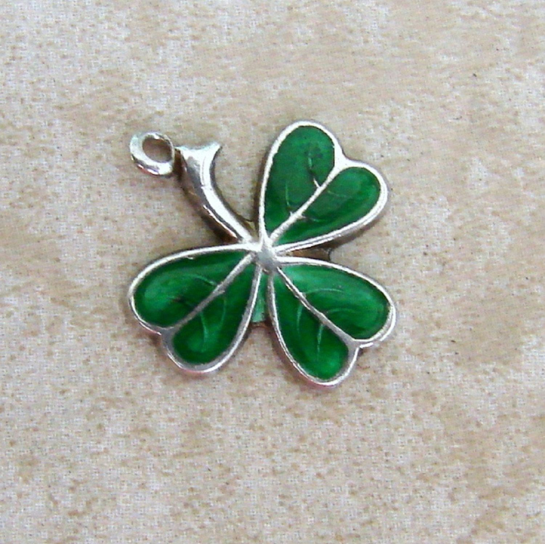 Green lucky shamrock necklace four leaf clover charm emerald green - Green Enamel Lucky 3 Leaf Clover Shamrock Vintage Sterling Silver Bracelet Charm St Patricks Day