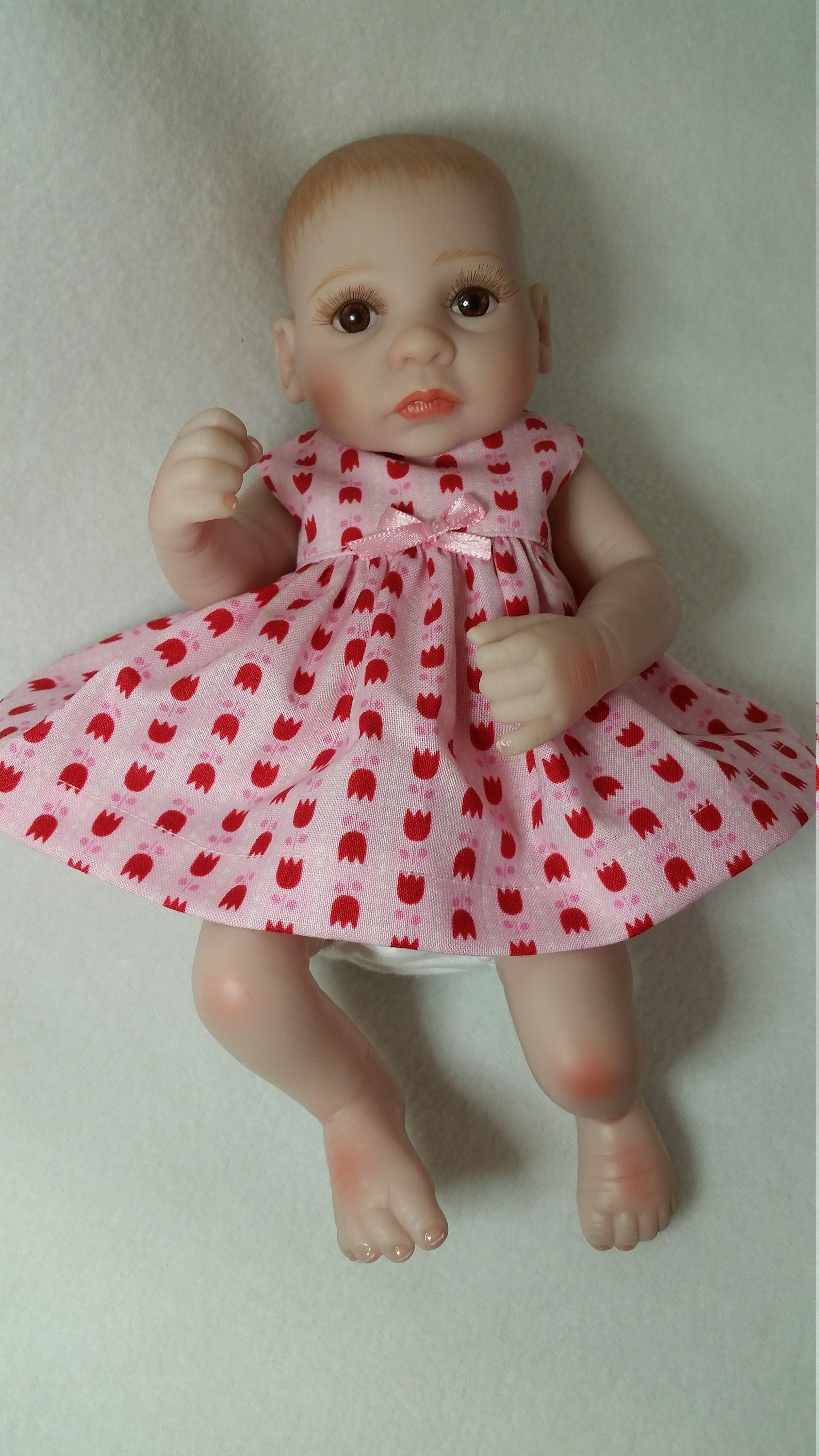 11 13 Dress Pink With Red Tulips Fits Baby Alive Silicone Reborn Handmade Baby Doll Clothes In 2020 Baby Doll Clothes Baby Alive Baby Dolls
