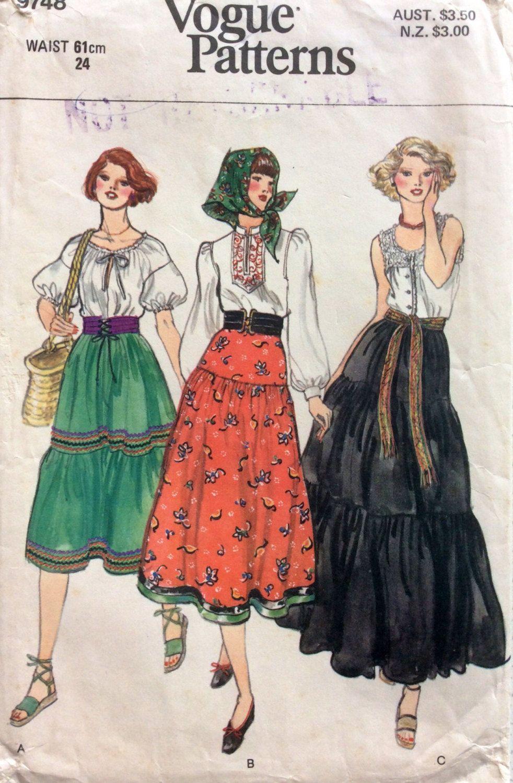 1970s boho dirndl skirt Vogue 9748 vintage sewing pattern Petite ...